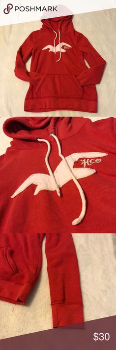 NWOT Red Hollister Hoodie New Hollister hoodie. No flaws. Extremely soft and comfy. Very warm and cozy. Perfect to throw on with a pair of jeans and sneakers when you're on the go and want to stay warm. LOVE this. Hollister Tops Sweatshirts & Hoodies