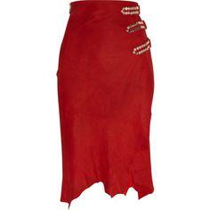 Balmain Embellished Nubuck Skirt