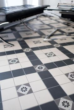 Love these Victorian Geometric tiles in this heritage house Bar Tile, Old Bar, Victorian Bathroom, Geometric Tiles, Black And White Tiles, Parisian Chic, Living Area, Living Spaces, Old English