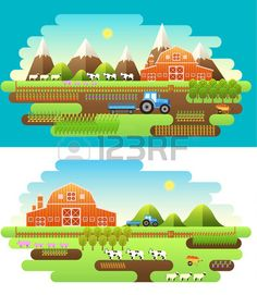 Flat farm in village set sprites and tile sets instruments flowers vegetables fruits hay farm buildi Stock Vector