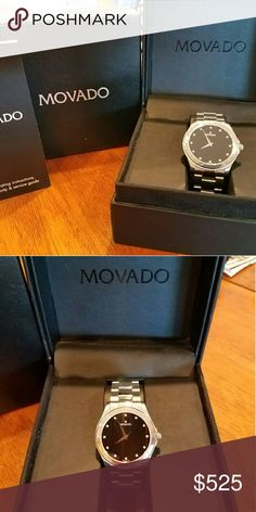 Movado watch with diamond markers LAST PRICE DROP!  Movado watch with diamond markers. Men's watch, but slim enough profile for women to wear a bit oversized.  This is priced 64% off retail!!  Buy with confidence! Poshmark will authenticate for free since it is listed over $500!! movado  Accessories Watches