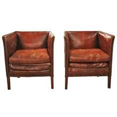 Pair of 1920s English Leather Chairs #LeatherChair
