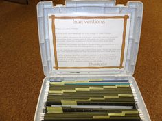 Teacher maintained kit-To be used by intervention teacher! I love the organization idea!
