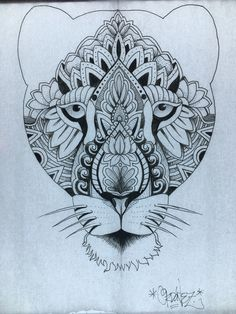 Mandala tattoo design Lioness by Francisco Ordonez. Calgary AB