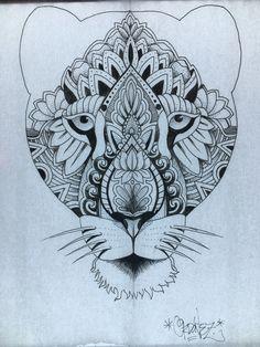 Mandala tattoo design Lioness by Francisco Ordonez. Calgary AB