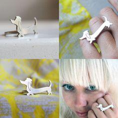 Wiener Sausage Dog Ring Dachshund Jewelry Little Lola Ring. $82.00, via Etsy.