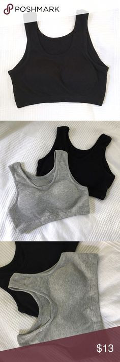 Black Ribbed Padded Sports Bra Not UO* Black Japanese cotton and polyester ribbed padded sports/casual bra. Also have it in grey - bundle to save! They can be worn as a workout bra or around the house like I do. Also cute with high waisted jeans/shorts! Love this style. The sizing runs small so if you select a M, the size will be XL on the tag. Etc. I'm a L-XL as a 32b/c because I have wide shoulders and don't like it too tight. I'll mark them according to how they fit. Let me know if you…