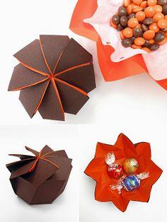 origami - cajas plegadas con una sola hoja de papel circular