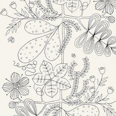 5007490 Blommen - Noir / Blanc - Schumacher Wallpaper | Schumacher | L.A. Design Concepts