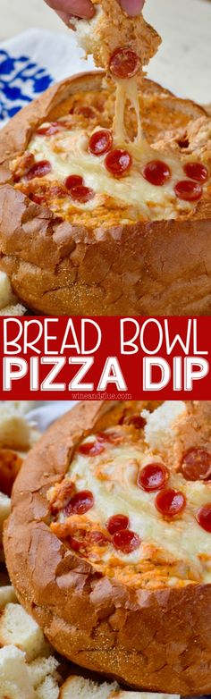 Bread Bowl Pizza Dip - Wine & Glue This Bread Bowl Pizza Dip comes together so easily, and is a deliciously perfect appetizer! Appetizer Recipes, Appetizers, Pan Relleno, Tasty, Yummy Food, Bread Bowls, Football Food, Snacks, Love Food