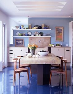 """A modern take on the blue and white kitchen by Chip Bohl from """"METROPOLITAN HOME: DESIGN by Michael Lassell. We are kind of planning something similar to this as a cabinet design. Painted Kitchen Floors, Painted Floors, Kitchen Paint, Kitchen Flooring, Modern Flooring, Epoxy Resin Flooring, Linoleum Flooring, Epoxy Floor Designs, Sweet Home"""