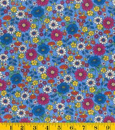 Creating New Traditions- Made in America Mid Size Floral Blue Fabric