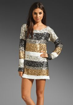 Trocadero Shirt Dress in Silver and Gold. Great for a party!