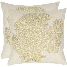 Safavieh Spice Fan Coral Embroidered Throw Pillow 2-piece Set ($170) ❤ liked on Polyvore featuring home, home decor, throw pillows, green, green toss pillows, green accent pillows, set of 2 throw pillows, safavieh and coral fan