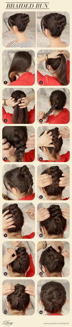 Braided Bun Bun Updo Looks Style Hairstyle Diy Tutorial Hairdo 2 Braided Bun Hairstyles, Cute Girls Hairstyles, Everyday Hairstyles, Braided Hairstyles, Easy Hairstyle, Bun Updo, Easy Updo, Style Hairstyle, Braided Buns
