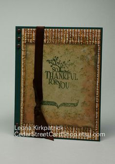 """Handmade Fall-Themed """"So Thankful For You"""" Card by CedarStreetCardShop Fall Words, Green Texture, Rust Color, Autumn Theme, White Envelopes, Greeting Cards Handmade, Your Cards, Card Stock, Handmade Items"""