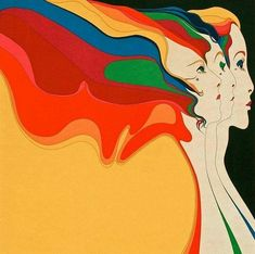 "Three Graces by John Luke Eastman, lithograph - "" 60s Art, Retro Art, Vintage Art, Arte Popular, Psychedelic Art, Illustrations, Illustration Art, Retro Kunst, John Luke"