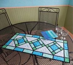 Stained Glass Table Runner designed by Kris Holderness for Cut Loose Press