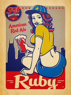 Fat Bottom Brewing Co. Packaging and Posters Sous Bock, Dark Comics, City Icon, Beer Girl, Beer Poster, Retro Lingerie, Pop Characters, Girl Posters, Retro Advertising