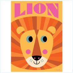 """Omm Design Poster Lion Face """"Ingela P Arrhenius"""" - www.lolakids.de"""