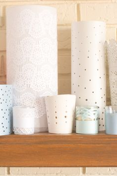 DIY: Lacy Punched Paper Votives