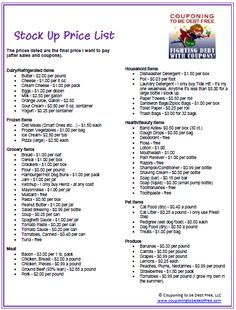Stock Up Price List - awesome resource to let you know when a price is a great sale price Couponing For Beginners, Couponing 101, Extreme Couponing, Ways To Save Money, Money Tips, Money Saving Tips, Shopping Coupons, Shopping Hacks, Price List