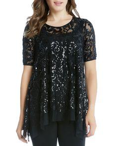 66.94$  Buy here - http://virrl.justgood.pw/vig/item.php?t=wgy005023285 - Karen Kane Sequin Mesh Top 66.94$
