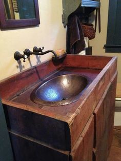 An antique dry sink was converted into a wet sink: Primitive Bathrooms, Rustic Bathrooms, Small Bathroom, Bathroom Ideas, Bathroom Makeovers, Master Bathroom, Bad Inspiration, Bathroom Inspiration, Timeless Bathroom