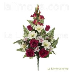 Ramos artificiales cementerios y jardineras Todos los Santos. Ramo flores artificiales rosas burdeos con lily crema 67