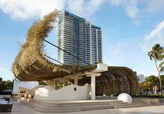 sun xun's sinuous beachfront bamboo pavilion for audemars piguet in miami