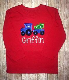Custom appliqued tractor shirt
