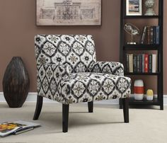 Grey Dark Brown Fabric Wood Accent Chair