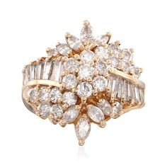 C. 1990 Vintage 2.80 ct. t.w. Multi-Cut Diamond Cluster Ring in 14kt Yellow Gold. Size 6.5