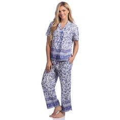 La Cera Women s Cotton Floral 2-piece Pajama Set. overstock.com 9035fe99a