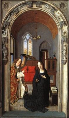 The Annunciation ((Polyptych of the Virgin, the wing) - Dirk Bouts