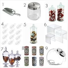 Never use metal scoops (Item they chip your glass (not just damaging your jars but endangering your guests) there are lots of great metallic plastic options. Candy Buffet Tables, Dessert Buffet, Candy Table, Dessert Bars, Dessert Tables, Buffet Ideas, Candy Display, Candy Bar Wedding, Sweet Bar