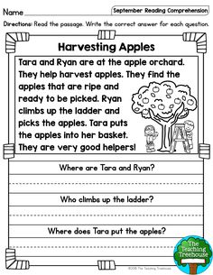 September Reading Comprehension Passages for Kindergarten and First Grade I hope that your students will enjoy these no prep September themed reading passages! Included are a mix of twenty fiction and nonfiction si First Grade Reading Comprehension, Reading Comprehension Worksheets, Reading Fluency, Reading Activities, Education Quotes For Teachers, Quotes For Students, Quotes For Kids, Baby Quotes, Family Quotes
