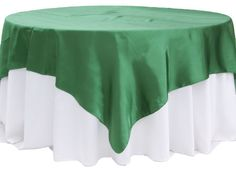 """Square 90""""x90"""" Satin Table Overlay - Emerald Green"""