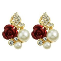 SHARE & Get it FREE | Pair of Stylish Faux Pearl Rhinestone Rose Earrings For WomenFor Fashion Lovers only:80,000+ Items • FREE SHIPPING Join Twinkledeals: Get YOUR $50 NOW!