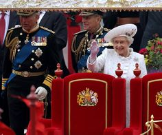 Queen Elizabeth II enjoying her Thames River Pageant from the Royal Barge. 06.03.12