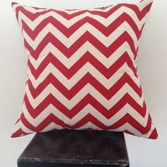 Lipstick red and natural chevron cushion cover by Black Eyed Susie