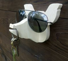 Plywood pig head wall hanger for keys glasses and by lxrns on Etsy