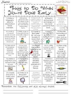 Teachers Notebook- Early Finisher activities