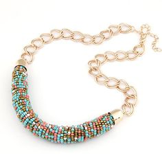 $5.90 For [N2539] Gold Handmade Bohemia Style Colorful Beads Statement Necklace | Free Shipping