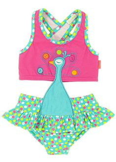 Le Top Swirly Girly Dot PEACOCK Monokini Swimsuit BABY Girls 12m-24m - Color Me Happy Boutique #Summer
