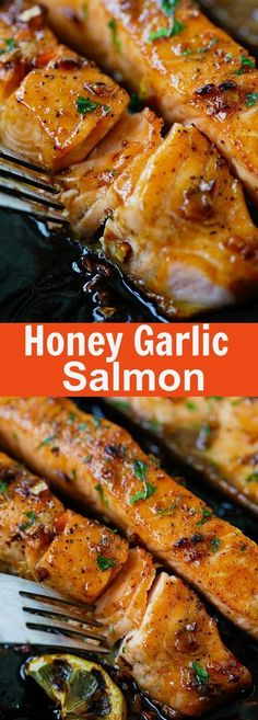 Honey Garlic Salmon Honey Garlic Salmon – garlicky, sweet and sticky salmon with simple ingredients. Takes 20 mins, so good and great for tonight's dinner | http://rasamalaysia.com