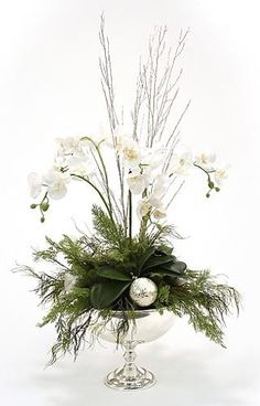 silver and white arrangement in a silver compote christmas decor traditional holiday decorations - White Christmas Flower Decorations