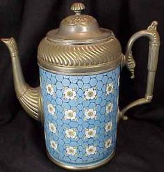 Blue Granite Flowered Gooseneck Tea Pot