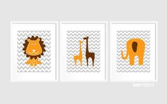 Baby Boy Nursery art, Set of 3 8x10. Elephant, Giraffe, Lion