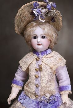 """18"""" (46 cm) Antique Rare French Bisque Bebe Doll by Rabery and Delphieu with Early Original Body"""